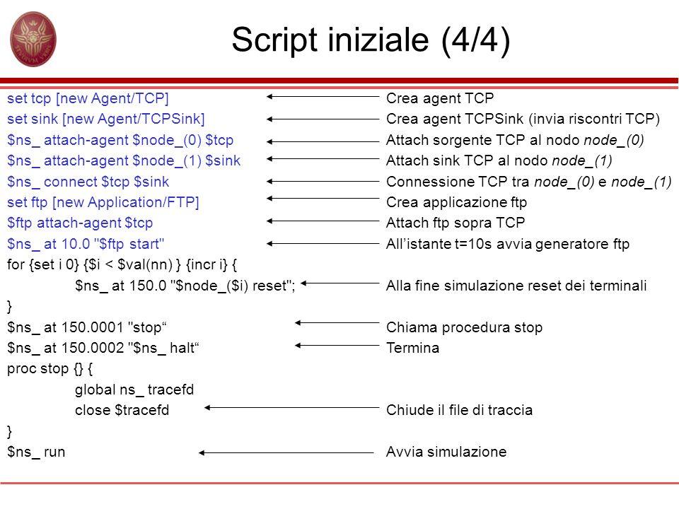 Script iniziale (4/4) set tcp [new Agent/TCP]